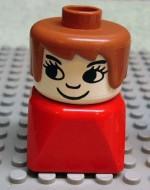 dupfig030 Duplo 2 x 2 x 2 Figure Brick Early, Female on Red Base, Fabuland Brown Hair, Eyelashes, Nose loc