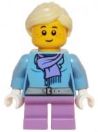 hol066 Meisje, blauwe jas met sjaal NIEUW *0M0000