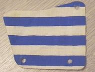 sailbb27-1G Zeil 9x11, 3 gaten enm blauwe strepen wit gebruikt *5D000