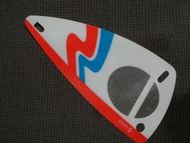x66px8-12G Zeil 6x12 Wit/rood/blauw golfpatroon (plastic) transparant NIEUW *5D000