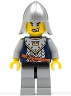 cas338 Fantasy Era - Crown Knight 6, Metallic Silver helm with Neck Protector NIEUW loc