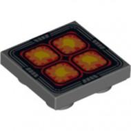 11203pb007-85 Tegel 2x2 omgekeerd Vier oranje, rood en gele vierkanten grijs, donker (blauwachtig) NIEUW *