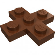 15397-88 Platte plaat 3x3 kruis bruin, roodachtig NIEUW *1L0000