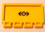 2873pb13-3G Klapdeurtje met scharnier treinlogo Geel gebruikt loc