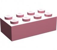 3001-23G Steen 2x4 Roze (classic) gebruikt loc B7/8