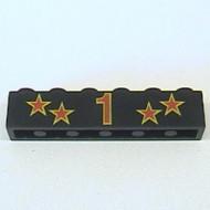 """3009pb044-11G Steen 1x6 opdruk sterren en """"1"""" in rood zwart gebruikt *0K01Z1"""