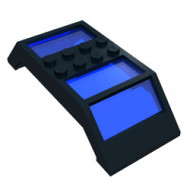 30343c01-11G Raam 4x10x2 dubbel m,et donkerblauw glas zwart gebruikt *