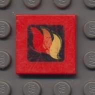 3068bp57-5G Tegel 2x2 BRANDWEER met kader rood gebruikt *0D008