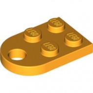 3176-110 Platte plaat 2x2 met gat voor trekhaak (oog) oranje, lichthelder NIEUW *1B234
