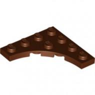 35044-88 Platte plaat 4x4 vierkant met ronde uitsnede bruin, roodachtig NIEUW *5D0000