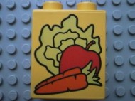 4066pb069-3 DUPLO steen 1x2x2 Wortel,appel,sla Geel gebruikt loc