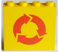 4215ap08-3G Paneel 1x4x3 recycling symbool geel gebruikt *0D0000