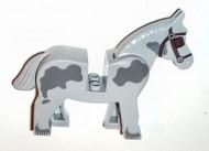 4493c01pb09-86 Paard met donkerblauwgrijze vlekken Grijs, licht-blwachtig NIEUW loc