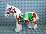 4493c01px3-1G Paard met groen kleed en bruine vlekken Wit gebruikt loc