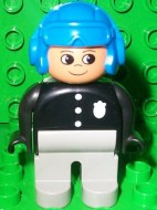 4555pb063 Duplo Figure, Male Police, Light Gray Legs, Black Top with 3 Buttons and Badge, Blue Aviator Helmet loc