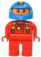 4555pb065 Duplo Figure, Male, Red Legs, Red Top with Cat Eye Racer Logo, Blue Helmet loc