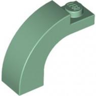 6005-48 Steen, boog 1x3x2 boven rond 1 nop bovenop groen, zandkleurig NIEUW *1L000