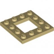 64799-2 Platte plaat 4x4 met gat 2x2 crème NIEUW *1L0000