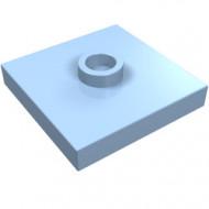 87580-105 Platte plaat 2x2 1 centrale nop blauw, lichthelder NIEUW *1L235