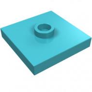 87580-156 Platte plaat 2x2 1 centrale nop blauw, middenazuur NIEUW *1L235
