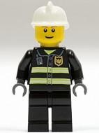 cty0023G Brandweerman- Witte brandweerhelm, bruine baard, zwart pak met reflectiestrepen, zwarte broek, gele handen gebruikt *0M0000