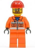 cty0032 Bouwvakker Rode valhelm, oranje jas en broek, bril en baard NIEUW loc