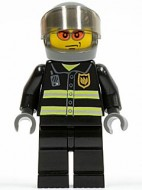 cty003G Brandweerman, donkerblaue grijze helm, oranje zonnebril, jas met reflectiestrepen gebruikt *0M0000