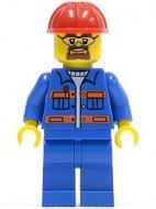 cty0471G Blauwe overall, rode valhelm, veiligheidsbril gebruikt loc