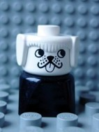 dupfig001 Duplo 2 x 2 x 2 Figure Brick Early, Dog on Black Base, White Head, looks Left *