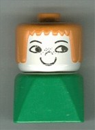 dupfig040 Duplo 2 x 2 x 2 Figure Brick Early, Female on Green Base, Earth Orange Hair, Nose Freckles loc