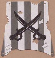 sailbb12-1G Zeil donkergrijze strepen gekruiste zwaardem wit gebruikt *5D000