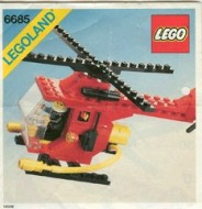 Set 6685 BOUWBESCHRIJVING- Classic Town: Fire Copter 1 PUNCHHOLES Helikopter gebruikt loc LOC M3