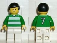 soc034G Voetballer groene & witte Team #7 on Back gebruikt *0M0000