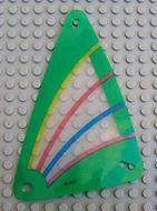 x772px4-12G Zeil 9x15 Groene rand met blauw, roze en geel (plastic) transparant gebruikt *5D000