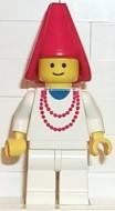 cas216G Jonkvrouw met rode punthoed, witte jurk met rode ketting, witte broek gebruikt loc