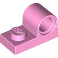 11458-104 Plaat 1x2 met pingat bovenop roze, helder NIEUW *1L0000