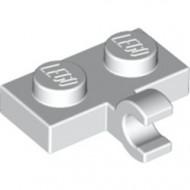 11476-1 Platte plaat 1x2 met horizontale clip LANGE einde wit NIEUW *1L0000