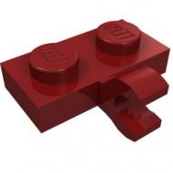 11476-59 Platte plaat 1x2 met horizontale clip LANGE einde rood, donker NIEUW *1L0000