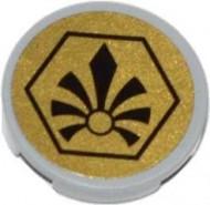 14769pb007-86G Tegel 2x2 rond met nopgat CHIMA logo (Sticker) grijs, licht (blauwachtig) gebruikt *1L0000