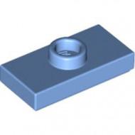 15573-42 Platte plaat 1x2 met 1 nop (loc 01-5) blauw, midden NIEUW *1L347
