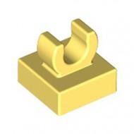 15712-103 Tegel 1x1 met clip bovenop afgeronde hoeken geel, lichthelder NIEUW *1L288/4