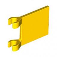 2335-3G Vlag 2x2 vierkant met twee clips geel gebruikt *3D000