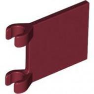 2335-59G Vlag 2x2 vierkant met twee clips rood, donker gebruikt *3D000