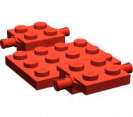 2441-5G Bodemplaat met wielhouders 7x4x2/3 rood gebruikt *3D000