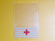 2494pb02-12G Glas for raam 1x4x5 met Rode Kruis motief transparant gebruikt *0B000