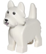 26078pb001 Hond terriër met zwarte ogen en roze tong wit NIEUW loc