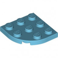 30357-156 Platte plaat 3x3 afgeronde hoek blauw, middenazuur NIEUW *5G000