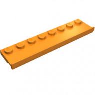 30586-4 Platte plaat 2x8 met deurrail (breed) oranje NIEUW *1L291/7