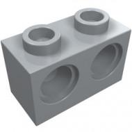 32000-86G Technic, steen 1x2 met 2 gaten grijs, licht (blauwachtig) gebuilkt *