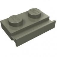 32028-10G Platte plaat 1x2 met deurrail donker, grijs (klassiek) gebruikt *1D011